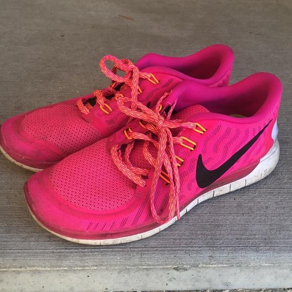 Nike pink free run 5.0 orange psychedelic shoe